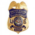 us recovery agent badge for a joke about an enforcement officer being chased by a bull.